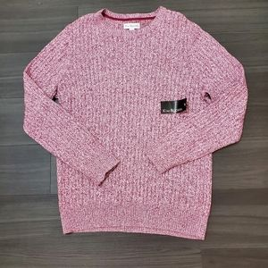Kim Rogers Sangria Pink Cable Knit Sweater